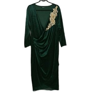 Shein Curve Velvet Green Dress 4XL